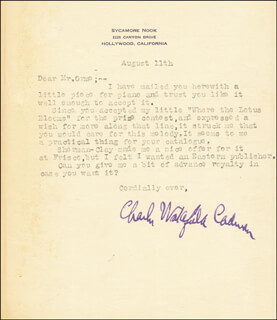 CHARLES WAKEFIELD CADMAN - TYPED LETTER SIGNED 8/11