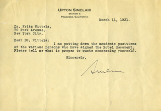 UPTON SINCLAIR - TYPED LETTER SIGNED 03/11/1931