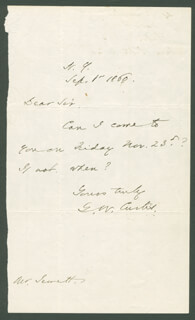 GEORGE WILLIAM CURTIS - AUTOGRAPH LETTER SIGNED 09/01/1860