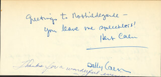 HERB CAEN - AUTOGRAPH NOTE SIGNED