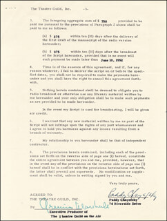 PADDY CHAYEFSKY - CONTRACT SIGNED 01/08/1952