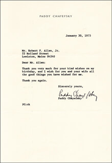 PADDY CHAYEFSKY - TYPED LETTER SIGNED 01/30/1975