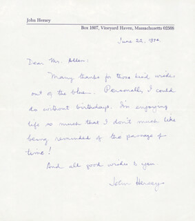 JOHN HERSEY - AUTOGRAPH LETTER SIGNED 06/22/1974