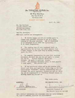 REX HARRISON - CONTRACT SIGNED 04/20/1951 CO-SIGNED BY: ARMINA MARSHALL
