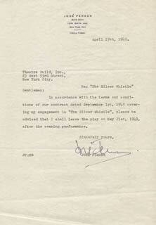 JOSE FERRER - TYPED LETTER SIGNED 04/19/1949