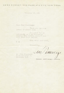 GENE TUNNEY - TYPED LETTER SIGNED 12/16/1931