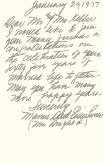 FIRST LADY MAMIE DOUD EISENHOWER - AUTOGRAPH LETTER SIGNED 01/29/1977
