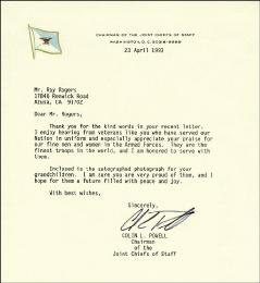 GENERAL COLIN L. POWELL - TYPED LETTER SIGNED 04/23/1993