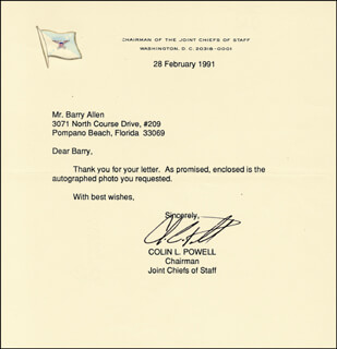 Autographs: GENERAL COLIN L. POWELL - TYPED LETTER SIGNED 02/28/1991
