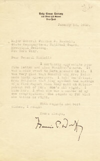 FATHER FRANCIS P. FRONT LINE DUFFY - TYPED LETTER SIGNED 01/15/1932
