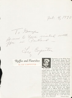 Autographs: LIZ CARPENTER - AUTOGRAPH NOTE SIGNED 02/04/1970