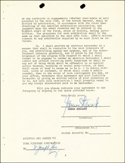 JAMES JIMMY STEWART - CONTRACT SIGNED 09/10/1952