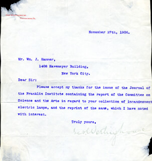 GEORGE WESTINGHOUSE JR. - TYPED LETTER SIGNED 11/27/1906