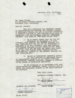 JAMES JIMMY STEWART - DOCUMENT SIGNED 05/29/1953