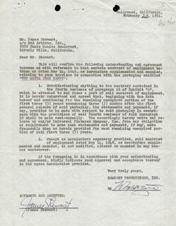 JAMES JIMMY STEWART - DOCUMENT SIGNED 02/23/1951