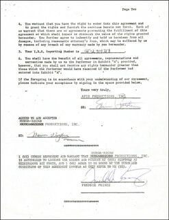 FREDDIE PRINZE - CONTRACT SIGNED 01/14/1975