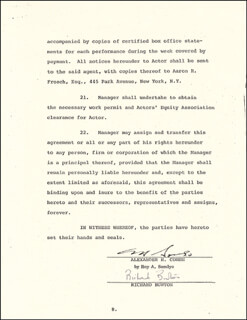 Autographs: RICHARD BURTON - CONTRACT SIGNED 02/23/1978 CO-SIGNED BY: ROY A. SOMLYO