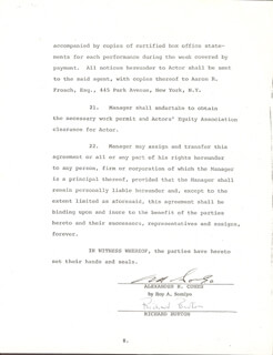 RICHARD BURTON - DOCUMENT SIGNED CO-SIGNED BY: ROY A. SOMLYO