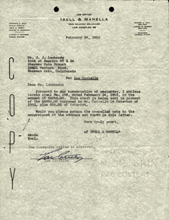 Autographs: ABBOTT & COSTELLO (LOU COSTELLO) - DOCUMENT SIGNED 02/24/1953