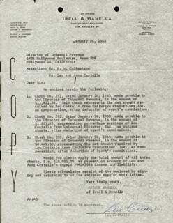 Autographs: ABBOTT & COSTELLO (LOU COSTELLO) - DOCUMENT SIGNED 01/26/1953