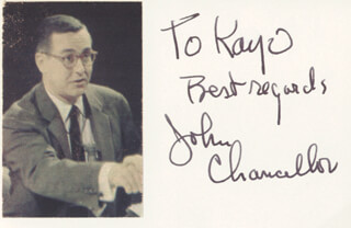 JOHN CHANCELLOR - AUTOGRAPH NOTE SIGNED