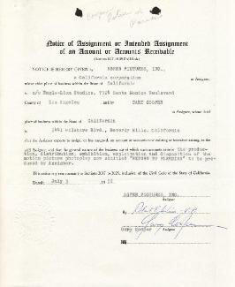 GARY COOPER - DOCUMENT SIGNED 07/03/1952 CO-SIGNED BY: ROBERT WISE