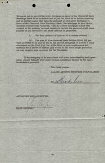 GARY COOPER - CONTRACT SIGNED 07/24/1956