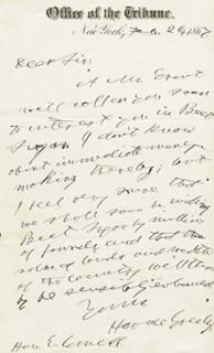 HORACE GREELEY - AUTOGRAPH LETTER SIGNED 02/26/1867