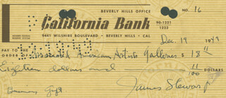 JAMES JIMMY STEWART - AUTOGRAPHED SIGNED CHECK 12/19/1949