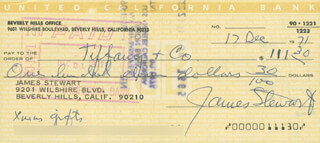 JAMES JIMMY STEWART - AUTOGRAPHED SIGNED CHECK 12/17/1971