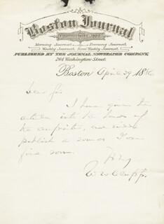Autographs: WILLIAM WARLAND (W.W.) CLAPP - AUTOGRAPH LETTER SIGNED 04/29/1886