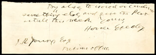 HORACE GREELEY - AUTOGRAPH NOTE SIGNED