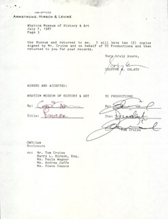 Autographs: TOM CRUISE - DOCUMENT DOUBLE SIGNED 07/07/1987