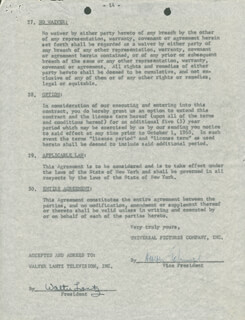 WALTER LANTZ - CONTRACT MULTI-SIGNED 11/17/1961