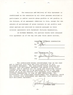 RICHARD GERE - DOCUMENT DOUBLE SIGNED 10/28/1985