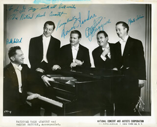 THE NATIONAL MALE QUARTET - INSCRIBED PRINTED PHOTOGRAPH SIGNED IN INK CO-SIGNED BY: THE NATIONAL MALE QUARTET (WALTER HATCHEK), THE NATIONAL MALE QUARTET (VERNON SANDERS), THE NATIONAL MALE QAURTET (ATTILIO BAGGIORE), THE NATIONAL MALE QUARTET (BRUCE MacKAY), THE NATIONAL MALE QUARTET (GENE TALERNI)