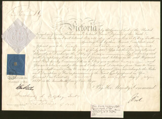 Autographs: QUEEN VICTORIA (GREAT BRITAIN) - MILITARY APPOINTMENT SIGNED 07/25/1855 CO-SIGNED BY: EARL OF DALHOUSIE XI (FOX MAULE-RAMSAY)