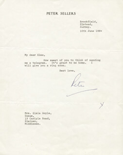 PETER SELLERS - TYPED LETTER SIGNED 06/10/1964