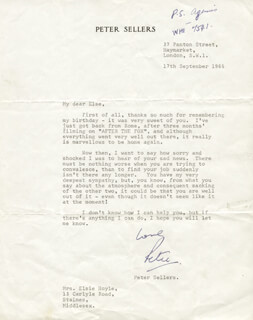 PETER SELLERS - TYPED LETTER SIGNED 09/17/1965