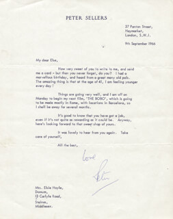 PETER SELLERS - TYPED LETTER SIGNED 09/09/1966