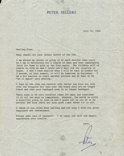 PETER SELLERS - TYPED LETTER SIGNED 07/19/1968