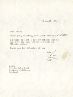 PETER SELLERS - TYPED LETTER SIGNED 04/16/1964