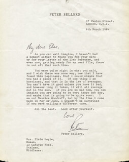 PETER SELLERS - TYPED LETTER SIGNED 03/06/1964