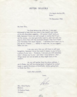 PETER SELLERS - TYPED LETTER SIGNED 12/07/1966