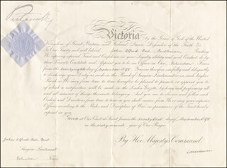 Autographs: QUEEN VICTORIA (GREAT BRITAIN) - MILITARY APPOINTMENT SIGNED 09/21/1898 CO-SIGNED BY: HENRY (5TH MARQUESS OF LANSDOWNE) PETTY-FITZMAURICE