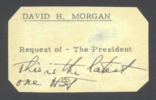 PRESIDENT HARRY S TRUMAN - AUTOGRAPH NOTE SIGNED