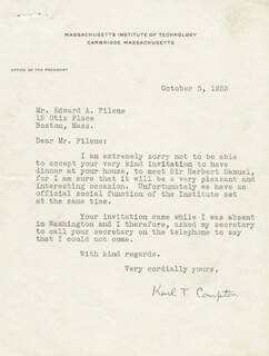 Autographs: KARL T. COMPTON - TYPED LETTER SIGNED 10/05/1933