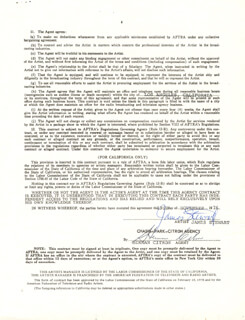 JAMES JIMMY STEWART - CONTRACT SIGNED 11/19/1976 CO-SIGNED BY: HERMAN CITRON