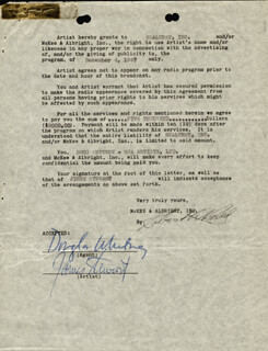 JAMES JIMMY STEWART - DOCUMENT SIGNED CO-SIGNED BY: ROBERT W. REDD, DOUGLAS WHITNEY