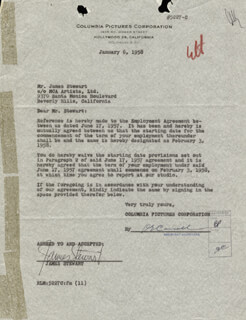 JAMES JIMMY STEWART - DOCUMENT SIGNED 01/06/1958